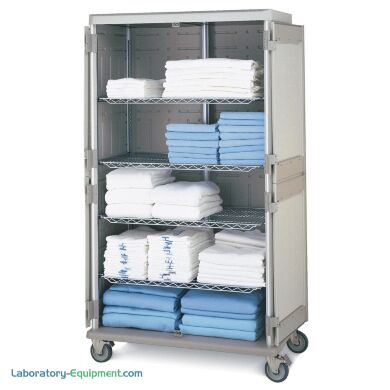 Antimicrobial Double-wide tall mobile cart with quikSLOT inserts for storage of medical linens | 1306-81 displayed