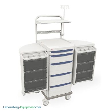 Antimicrobial biomedical cart by Intermetro with right and left swingout pods with drawers and dividers   1306-86 displayed