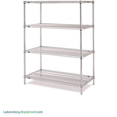 4' adjustable 304 stainless steel wire shelves with Microban antimicrobial coating and chrome plating