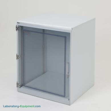 """Tabletop cleanroom storage cabinet, 25""""W x 24""""D x 30""""H, polypropylene construction, one chamber, static-dissipative PVC door, locking bracket   4103-01 displayed"""