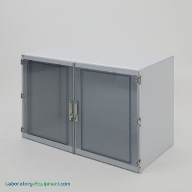 """Tabletop laboratory storage cabinet, 49""""W x 24""""D x 30""""H, polypropylene, one chamber, static-dissipative PVC double doors, locking brackets 