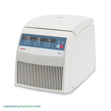 Refrigerated Heraeus Fresco 17 microcentrifuge from Thermo Fisher spins samples at 13,300 rpm | 1108-09 displayed
