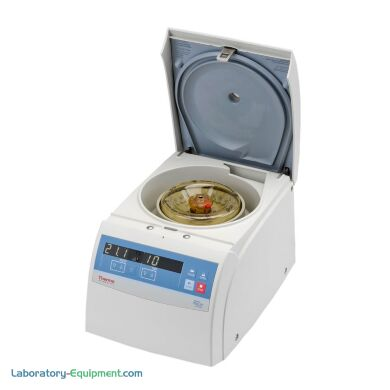 Ventilated Heraeus Pico 21 microcentrifuge from Thermo Fisher spins samples at 14,800 rpm | 1108-03 displayed