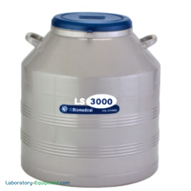 TW LS3000 Cryogenic Refrigerator has an 81L liquid or vapor LN2 capacity and an aluminum body with magniformed necktube; stores 3000 2ml vials | 6900-10 displayed