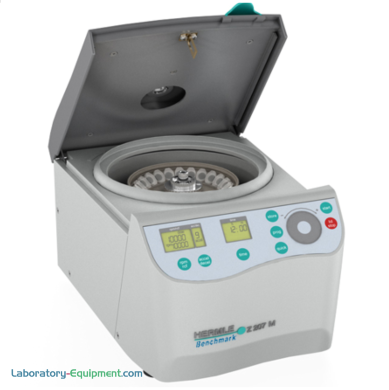 Compact 11 inch Hermle Z207-M Microcentrifuge features an EZ-Scroll touch pad and a maximum speed of 13,500 rpm; rotor options for 1.5 and 2.0 ml tubes | 2823-PP-15 displayed