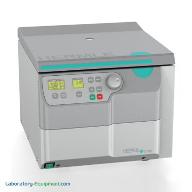 Compact lab centrifuge has 18 rotor options (order separately) and built-in safety features. Hermle's Z326 is air-cooled, stores up to 99 programs | 2823-61 displayed