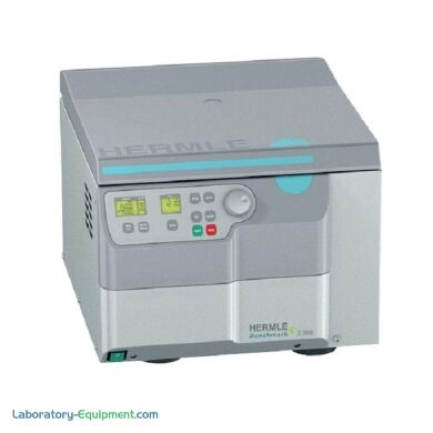 Hermle Z366 Mid-Range Capacity vented centrifuge is compatible with swing-out and fixed-angle rotors for tubes, microplates, PCR strips | 2823-63 displayed
