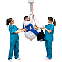 Compatible with GoLift patient handling, polyester and mesh slings with a large bottom opening ideal for patients requiring toileting; in S/M to X/XL sizes