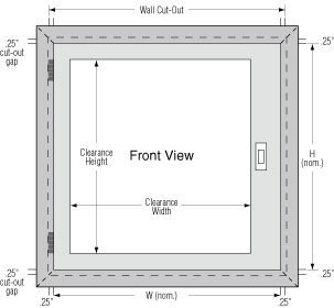Pass Through Front View Diagram with dimensions for wall cut out