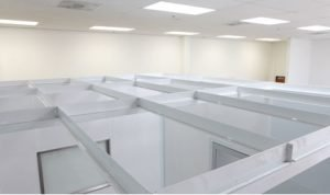 Terra Universal Cleanroom conversion ceiling grid within an office space