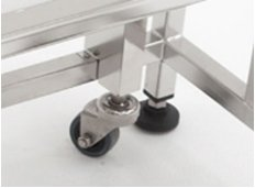 Retractable stainless steel rolling casters and nylon leveling feet.