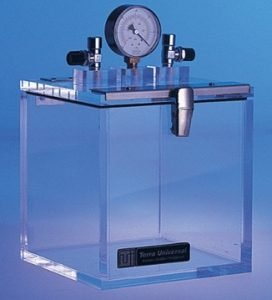 Acrylic vacuum chamber with valves and pressure gauge