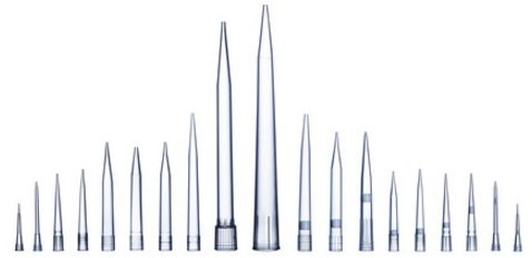 Pipette tips for capturing and dispensing known volumes of liquid.
